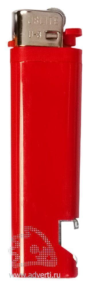 Зажигалка кремниевая с открывашкой, красная