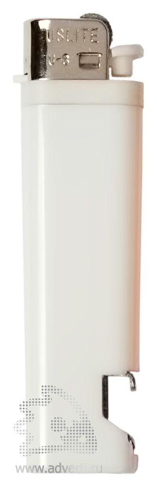 Зажигалка кремниевая с открывашкой, белая