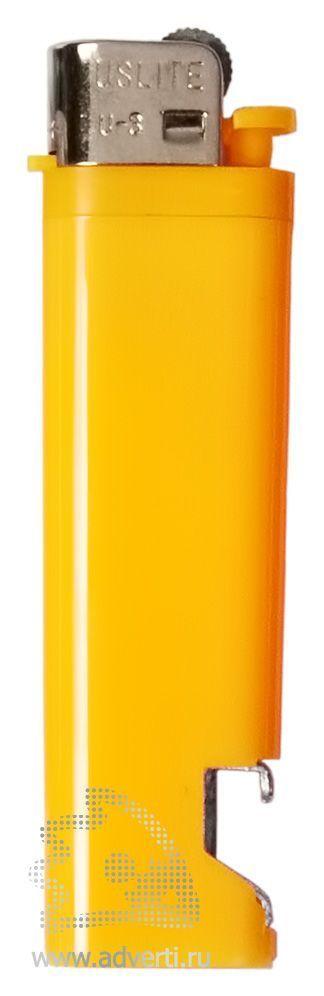 Зажигалка кремниевая с открывашкой, желтая