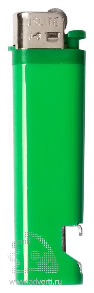 Зажигалка кремниевая с открывашкой, зеленая