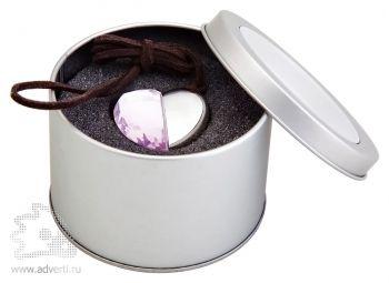 Флеш-память «Аметистовое сердце», подарочная упаковка