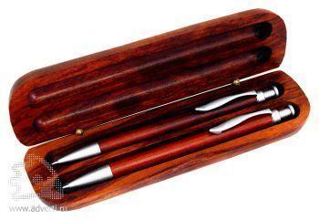 Набор PR-011: ручка шариковая и карандаш в деревянном футляре