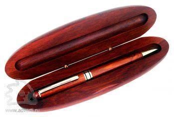 Ручка шариковая в деревянном футляре
