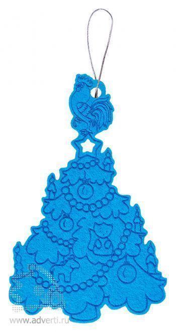 Новогоднее украшение «Петушок на елочке», фетр, голубое
