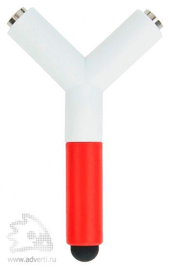 Сплиттер для наушников со стилусом, красный