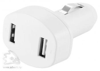 Зарядное устройство для автомобиля с 2 USB-портами, белое