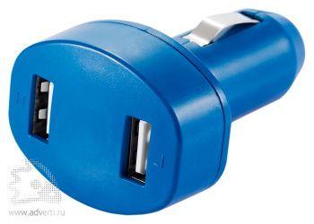 Зарядное устройство для автомобиля с 2 USB-портами, синее