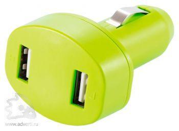 Зарядное устройство для автомобиля с 2 USB-портами, зеленое