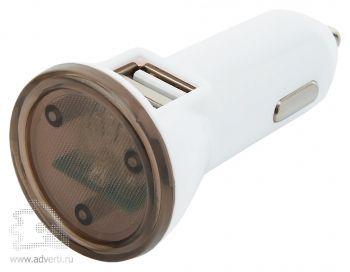 Мощное автомобильное зарядное устройство с 2 USB-портами, с черными элементами