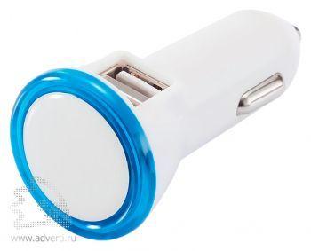 Мощное автомобильное зарядное устройство с 2 USB-портами, с синими элементами