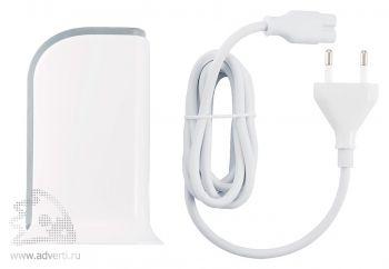 Мощная зарядная станция с 5 USB-портами, в комплекте белый кабель и EC адаптер