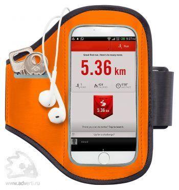 Спортивный чехол для телефона на руку, оранжевый