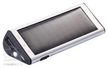 Зарядное устройство на солнечной батарее, 2200 mAh, серебристое