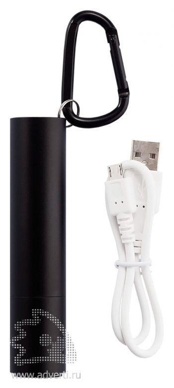 Зарядное устройство с фонариком, 2200 mAh, USB провод прилагается