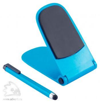 Подставка для смартфона со стилусом, синяя