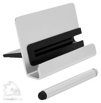 Алюминиевая подставка для телефона со стилусом, серая