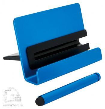 Алюминиевая подставка для телефона со стилусом, синяя
