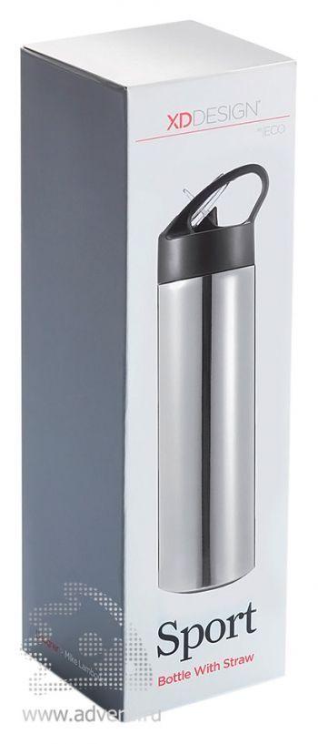 Спортивная бутылка для воды с трубочкой, упаковка