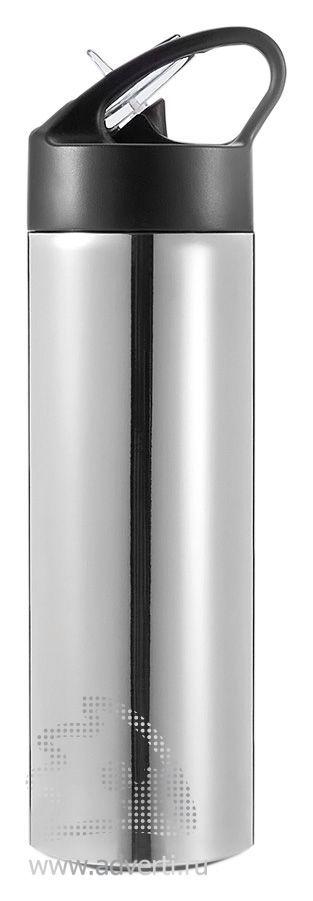 Спортивная бутылка для воды с трубочкой, серебристая