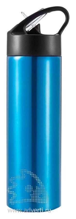 Спортивная бутылка для воды с трубочкой, синяя
