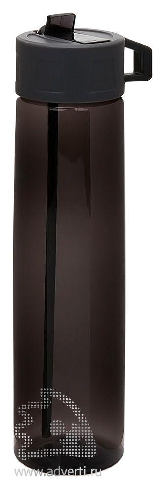 Бутылка для воды «Tritan» с трубочкой, черная