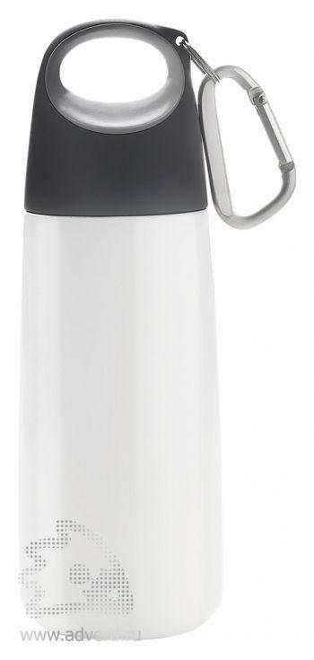 Бутылка для воды с карабином « Bopp Mini», белая с серым