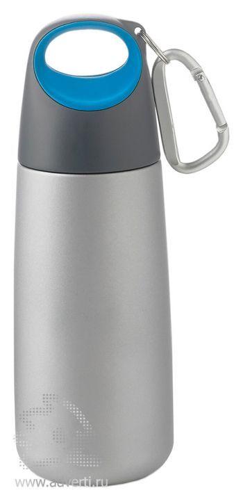 Бутылка для воды с карабином « Bopp Mini», серая с синим