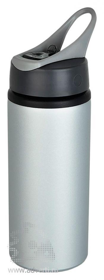Алюминиевая спортивная бутылка, серая