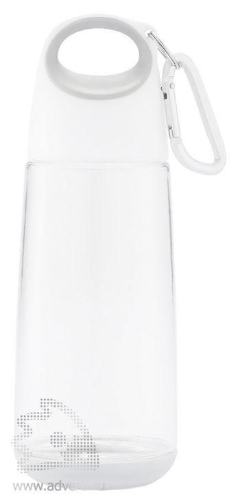 Бутылка для воды с карабином «Bopp Mini» прозрачная, белая с серым элементом