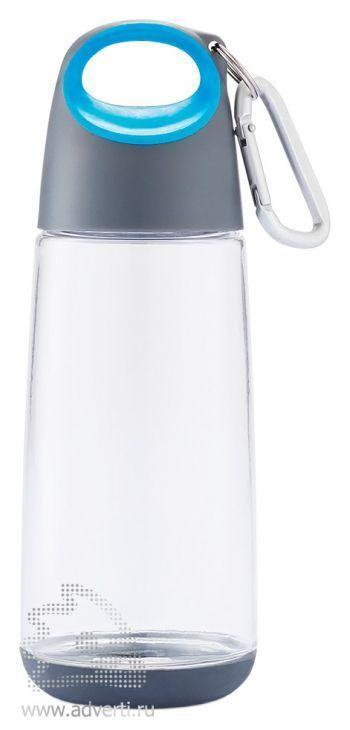 Бутылка для воды с карабином «Bopp Mini» прозрачная, серая с синим элементом