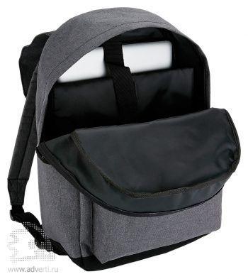 Стильный рюкзак для ноутбука с застежками на кнопках, открытый