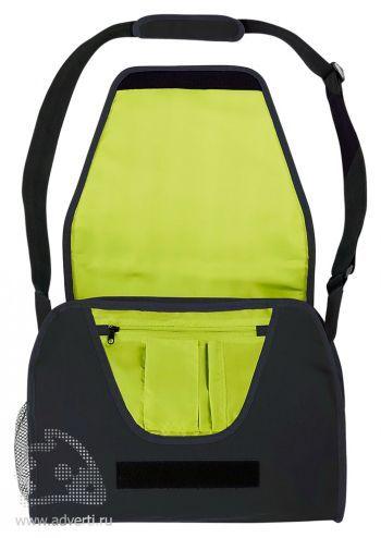 Конференц-сумка с цветным вкладышем, темно-синяя открытая