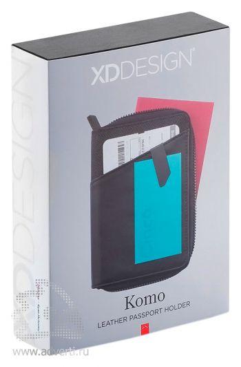 Кожаная обложка для паспорта «Komo», упаковка