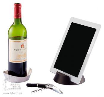 Набор для вина «Airo Tech»: штопор для вина, поднос для бутылки вина и держатель для планшета