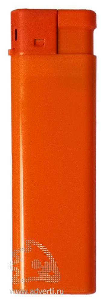 Зажигалка пьезо, однотонная, оранжевая