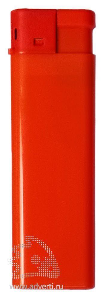 Зажигалка пьезо, однотонная, красная