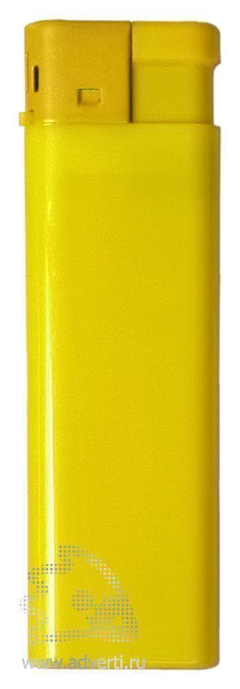 Зажигалка пьезо, однотонная, желтая