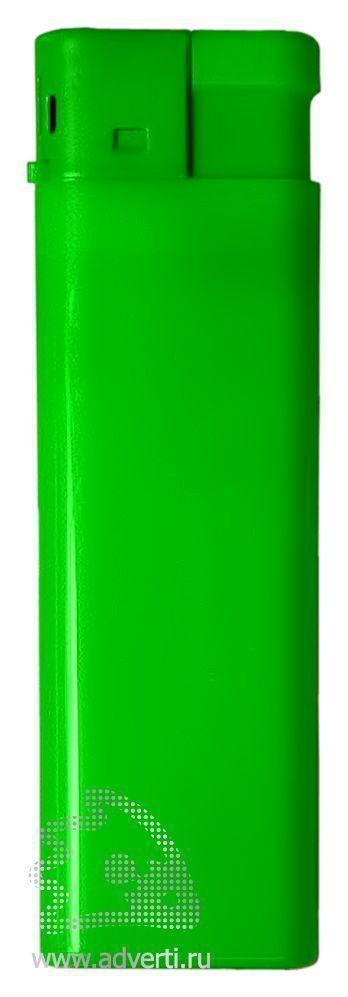Зажигалка пьезо, однотонная, зеленая