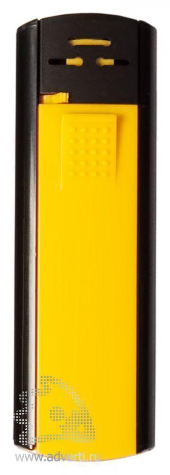 Зажигалка пьезо «Slider», желто-черная