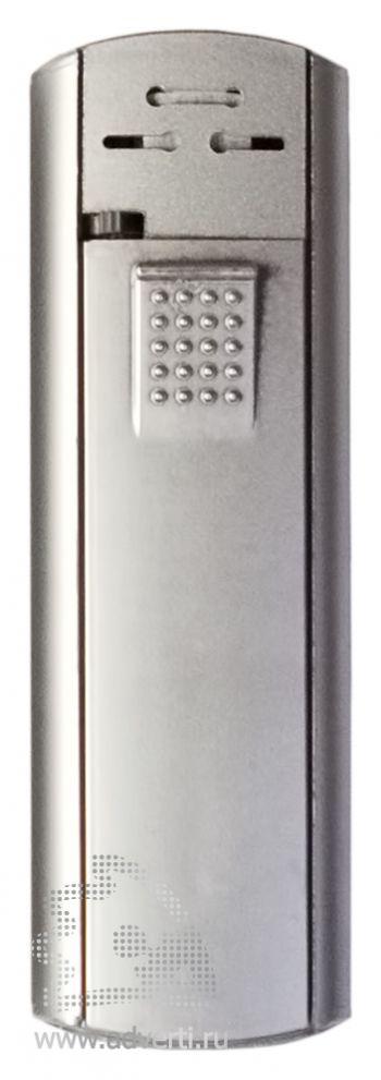 Зажигалка пьезо слайдер, с мерцающим покрытием, серебро