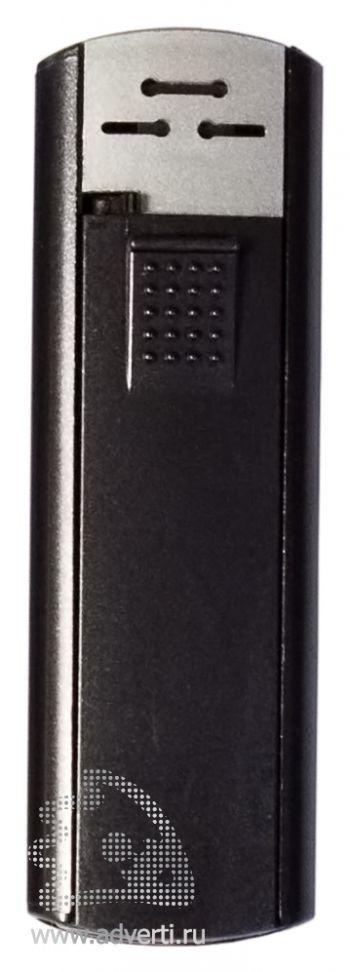 Зажигалка пьезо слайдер, с мерцающим покрытием, черный металлик
