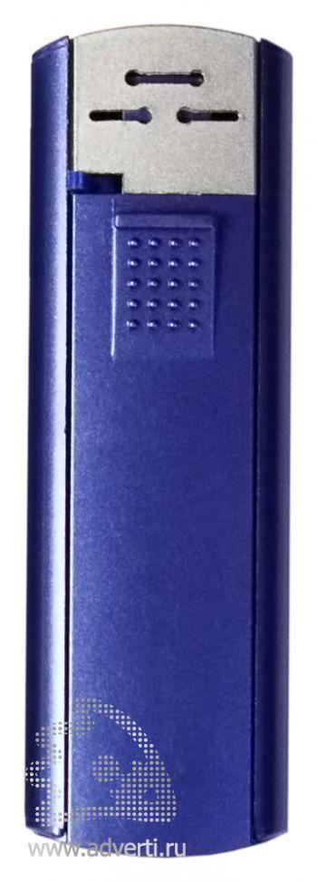 Зажигалка пьезо слайдер, с мерцающим покрытием, синий металлик