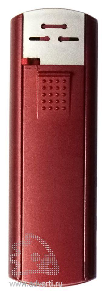 Зажигалка пьезо слайдер, с мерцающим покрытием, красный металлик