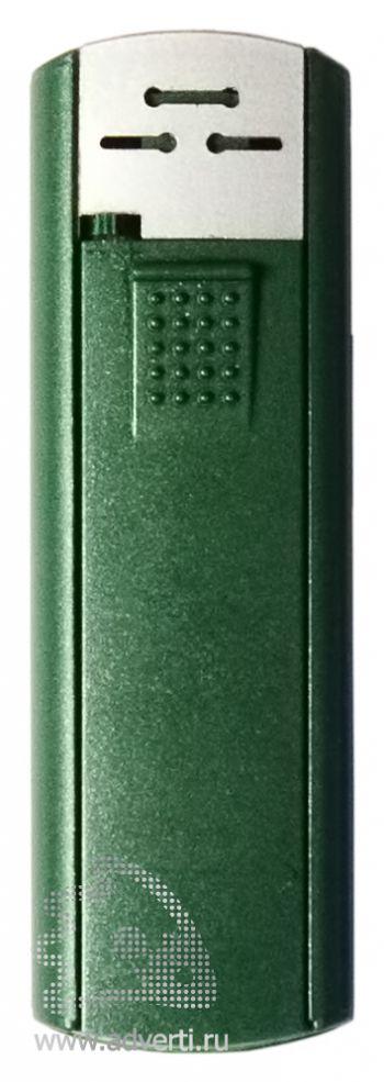 Зажигалка пьезо слайдер, с мерцающим покрытием, зеленый металлик