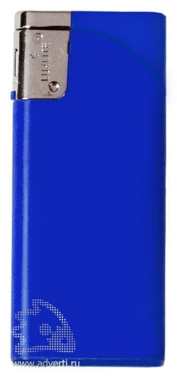 Зажигалка пьезо, плоская, синяя