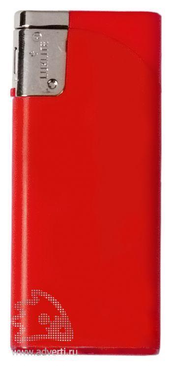 Зажигалка пьезо, плоская, красная