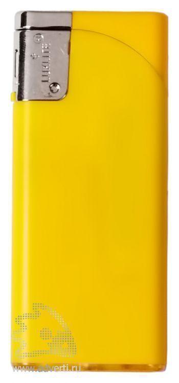 Зажигалка пьезо, плоская, желтая