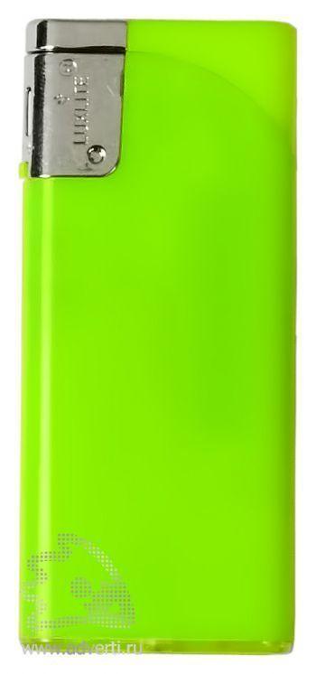 Зажигалка пьезо, плоская, зеленая