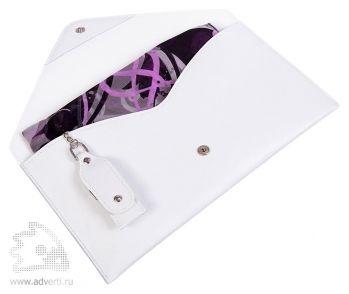 Подарочный набор «Sorento»: флеш-карта на 8Gb, платок из шифона, клатч из натуральной белой кожи